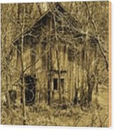 Abandoned Barn In Woods Wood Print