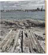 Abandoned Boat Slip Wood Print
