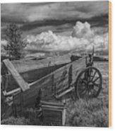 Abandoned Broken Down Frontier Wagon In Black And White Wood Print