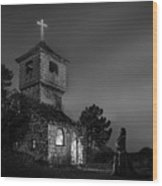 Abandoned Church At Night. Mysterious Nun Wood Print
