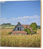 Abandoned Corn Field House Wood Print