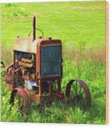 Abandoned Farm Tractor Wood Print