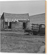 Abandoned Ford Truck And Shed Wood Print
