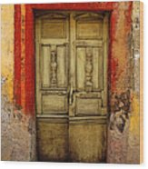 Abandoned Green Door 1 Wood Print by Mexicolors Art Photography