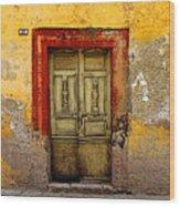 Abandoned Green Door 2 Wood Print