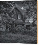 Abandoned Home In Lubec Maine Bw Version Wood Print