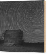 Abandoned House Spiral Star Trail Bw  Wood Print