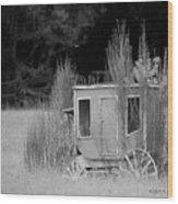 Abandoned In The Field Black And White Wood Print