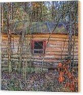 Abandoned Log Cabin Wood Print