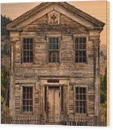 Abandoned Montana School Wood Print