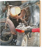 Abandoned Motorbike  Wood Print