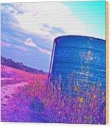 Abandoned Oil Storage Tank Wood Print