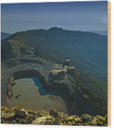 Abandoned Quarry With Lake Sea And Genoa Panorama Wood Print