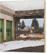 Abandoned Service Station Painterly Impressions Wood Print