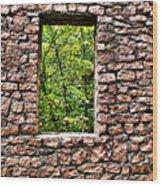 Abandoned Stone Wall With Window Wood Print