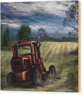 Abandoned Tractor Wood Print by Ron Grafe