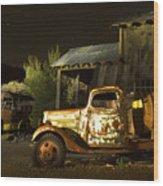 Abandoned Truck And School Bus In Ghost Town Wood Print