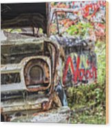Abandoned Truck With Spray Paint Wood Print