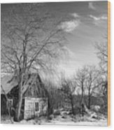 Abandoned Wooden Shack In Winter Wood Print