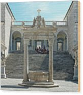 Abbey Of Montecassino Courtyard Wood Print