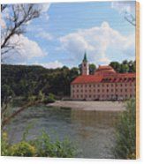 Abbey Weltenburg And Danube River Wood Print
