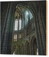 Abbey With Heavenly Light Wood Print