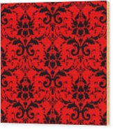 Abby Damask In Black Pattern 02-p0113 Wood Print
