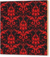 Abby Damask With A Black Background 02-p0113 Wood Print