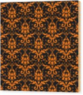 Abby Damask With A Black Background 03-p0113 Wood Print