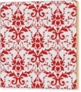 Abby Damask With A White Background 02-p0113 Wood Print