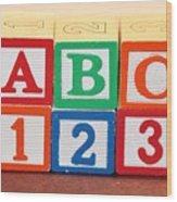 Abc 123 Wood Print