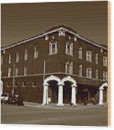Abilene Kansas - Spruce And 3rd Sepia Wood Print