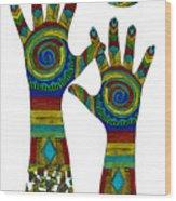 Aboriginal Hands Gold Transparent Background Wood Print