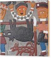 Aboriginal Painted Wall Decoration Wood Print