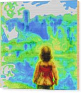 Above The Clouds - A Fantasy Artwork With A Girl Looking Towards Something Mysterious Wood Print