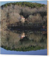 Above The Waterfall Reflection Wood Print