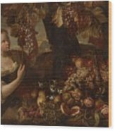Abraham Brueghel After, Girl With Grapes And Still Life With Fruit. Wood Print