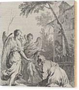 Abraham Kneeling Before The Three Angels Wood Print