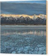 Abraham Lake Ice Bubble Sunset Wood Print