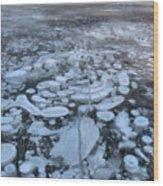 Abraham Lake Ice Bubbles Wood Print