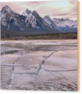 Abraham Lake Ice Sheets Wood Print