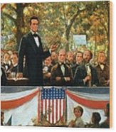 Abraham Lincoln And Stephen A Douglas Debating At Charleston Wood Print by Robert Marshall Root