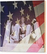 Abraham Lincoln Memorial Blended With American Flag Wood Print