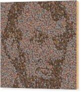 Abraham Lincoln Penny Mosaic Wood Print by Paul Van Scott