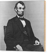 Abraham Lincoln Portrait - Used For The Five Dollar Bill - C 1864 Wood Print