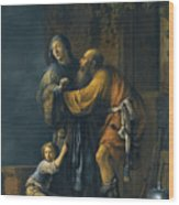 Abraham Pleading With Sarah On Behalf Of Hagar Wood Print
