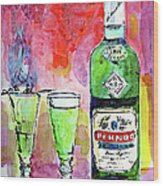 Absinthe Bottle And Glasses Watercolor By Ginette Wood Print