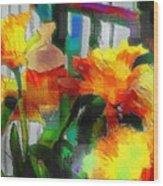 Absinthe Daffies Wood Print