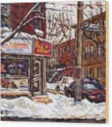 Rue De Pointe St Charles En Hiver Scenes De Rue De Montreal Peinture Originale A Vendre Paul Patates Wood Print