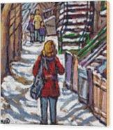 En Route Vers L'ecole Escaliers De Montreal Scenes De Ville Peintures A Vendre Wood Print